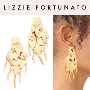 Lizzie Fortunato Golden Feather Earrings